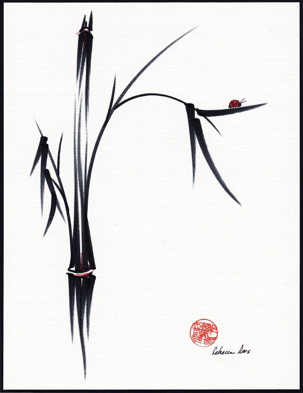 Gentle Soul - Original sumi-e ink brush pen Ladybug   Bamboo ... 6c20328fb1b4