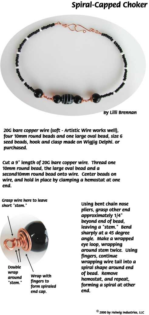 Spiral Capped Beads and Wire Choker Jewelry Making Project made with ...