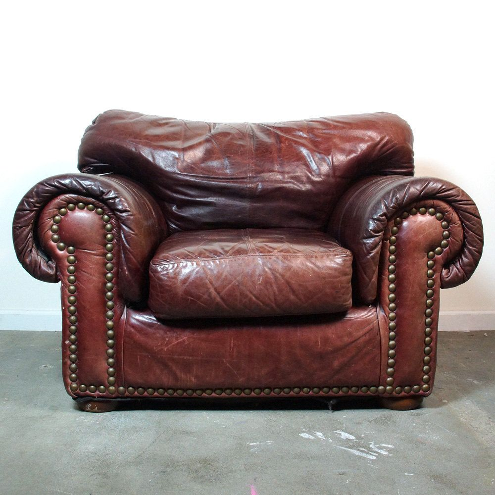 Leather Club Chair U0026 Ottoman / Vintage Distressed Brown Leather Library  Chair With Nailhead Trim And
