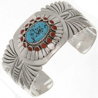 056c1f2af32e3 Turquoise Silver Mens Navajo Cuff Heavy Gauge Big Boy Bracelet 0596 ...