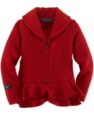 Ralph Lauren Little Girls' Shawl-Collar Fleece Jacket | macys.com