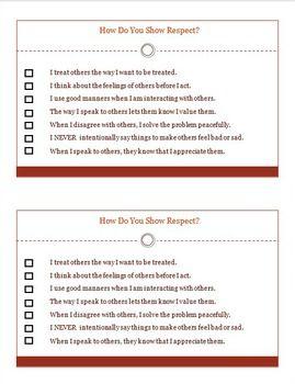 Respect Character Ed Student SelfAssessment HalfPage Worksheet