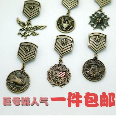 包邮新品胸针英伦学院风海军风金属五角星飞鹰总统徽章胸章勋章-淘宝网