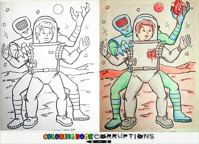 Coloring Book Corruptions Innocent Childrens Pages Defaced And Turned Into Something Sinister