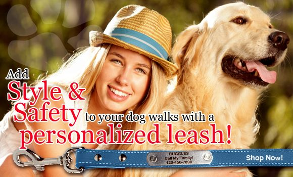 dogIDs has a huge variety of personalized leashes for your furry friend! Click the pin to see more!