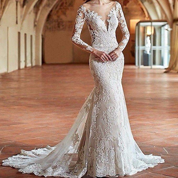 f83090631ef Yuxin Women s Illusion Long Sleeves Lace Mermaid Wedding Dress Appliques V  Cut Backless Bridal Gowns