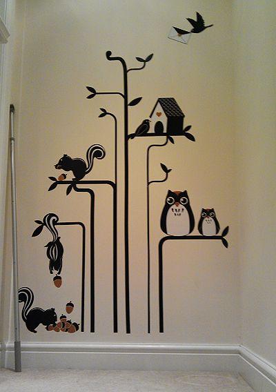 Owl & Squirrel wall sticker