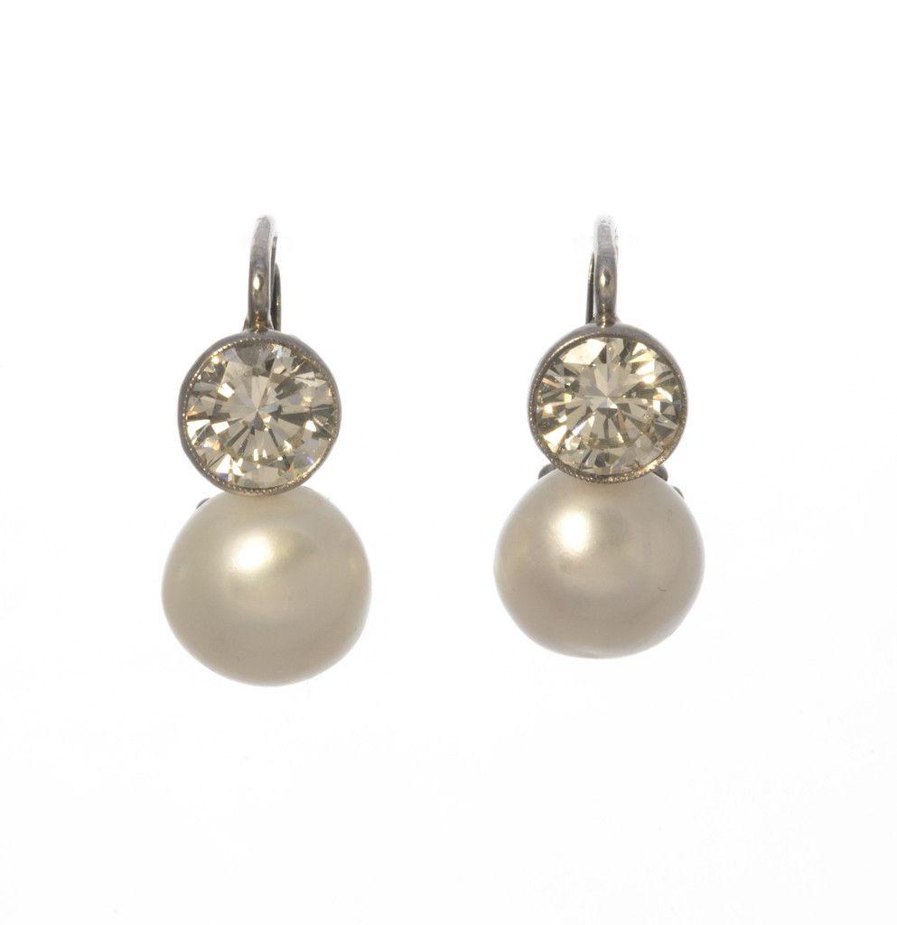 Estate Pearl And Diamond Earrings