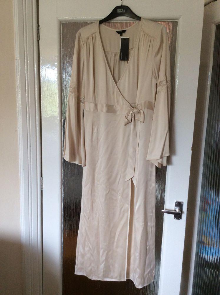 M&S AUTOGRAPH ladies Long dressing gown/Wrap 100%SILK UK12 M/L BNWT ...