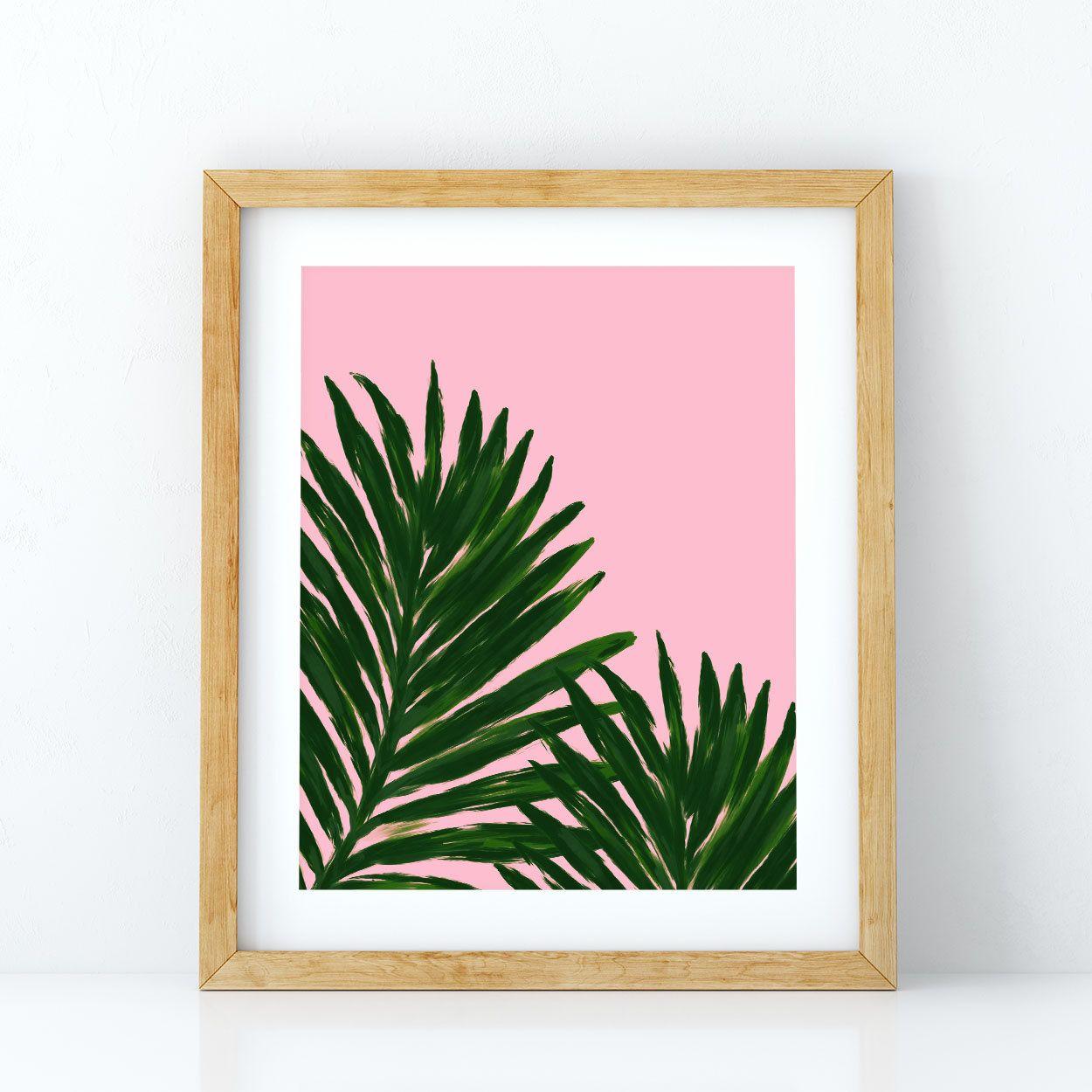 Palm leaf print pink background palm tree leaf tropical palm leaf print pink background palm tree leaf tropical botanical tropical print amipublicfo Images