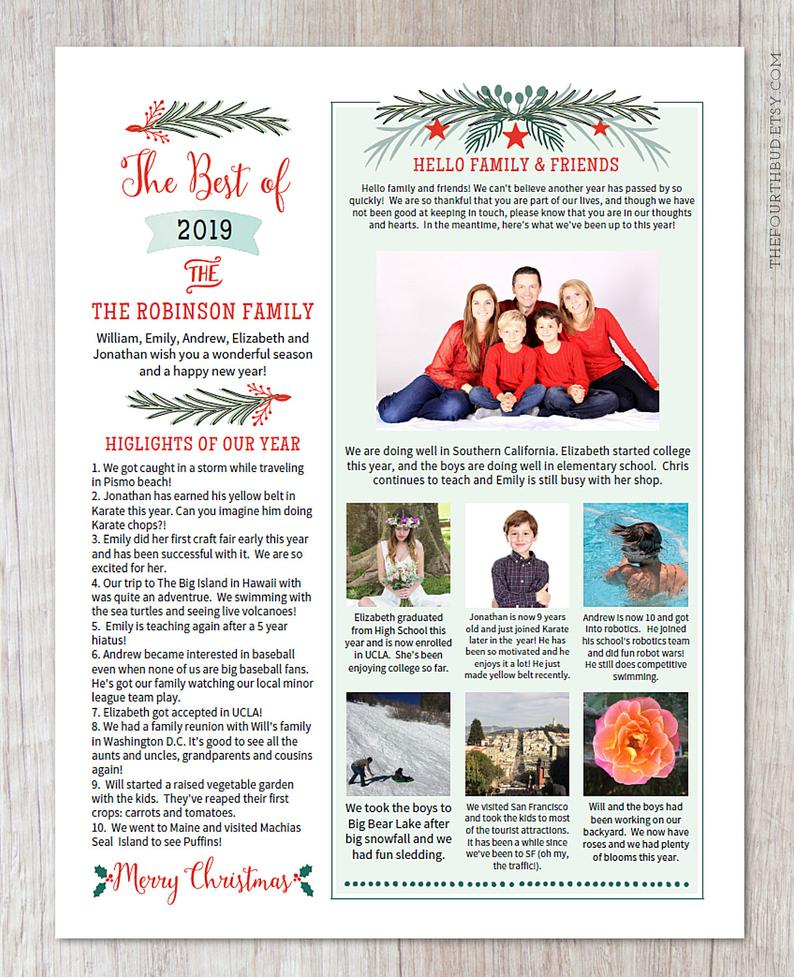 Christmas Newsletter Template in PDF for Print / Year In