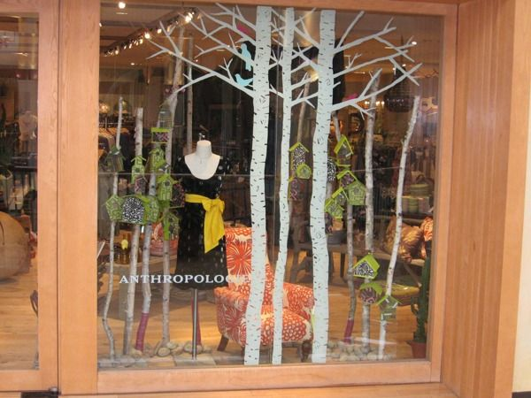 Anthropologie Display....like the painted birch trees on the window.