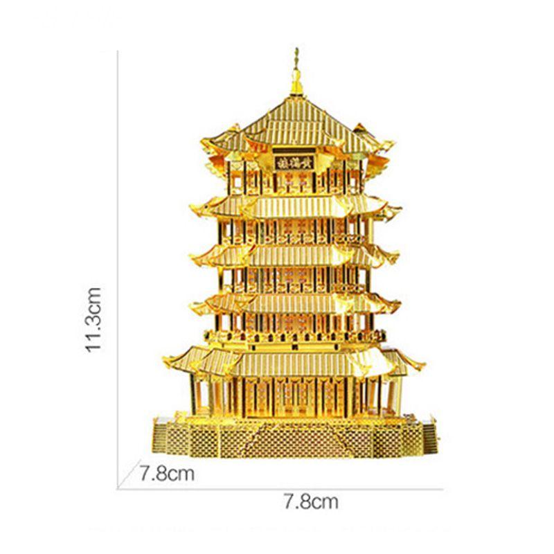 3D Yellow Crane Tower Metal Puzzle Famous Ancient Buildings Kid DIY