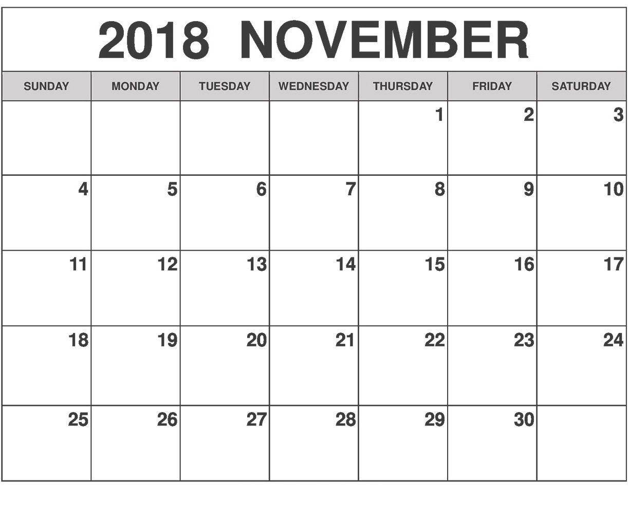 Printable November 2018 Weekly Calendar 2018 Calendar Pdf