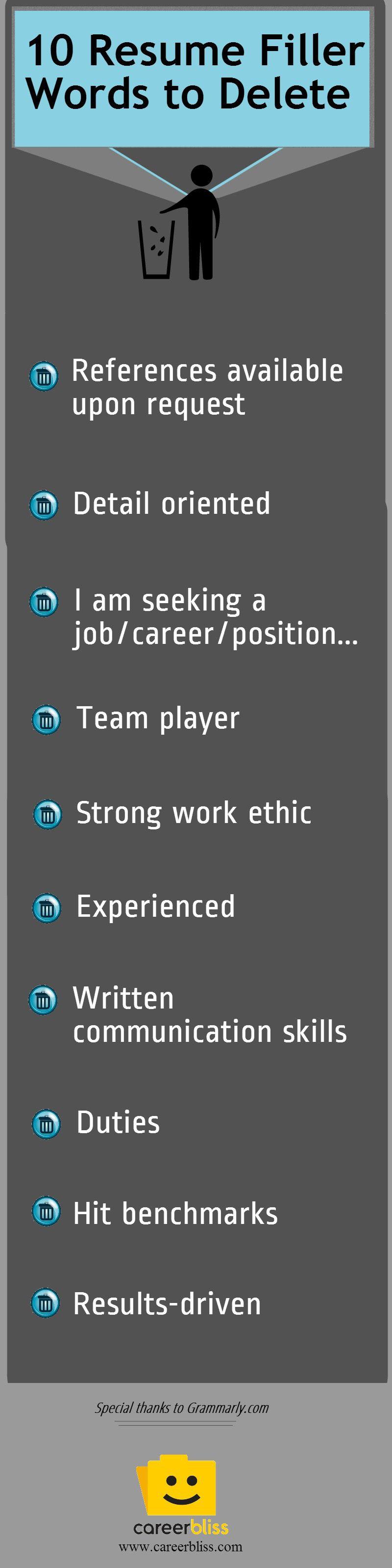 resume tips toss these filler words life skills pinterest