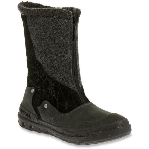 Merrell Women's Silversun Zip Waterproof Boots (395151601) (5.605 RUB) ❤ liked on Polyvore featuring shoes, boots, black, cold weather boots, nubuck boots, zip boots, winter boots and water proof winter boots