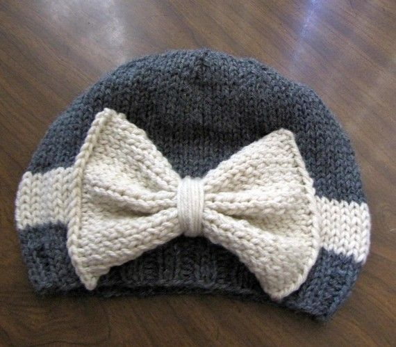 ADULT SIZE -- Vintage looking Gray and Cream Bow Hat