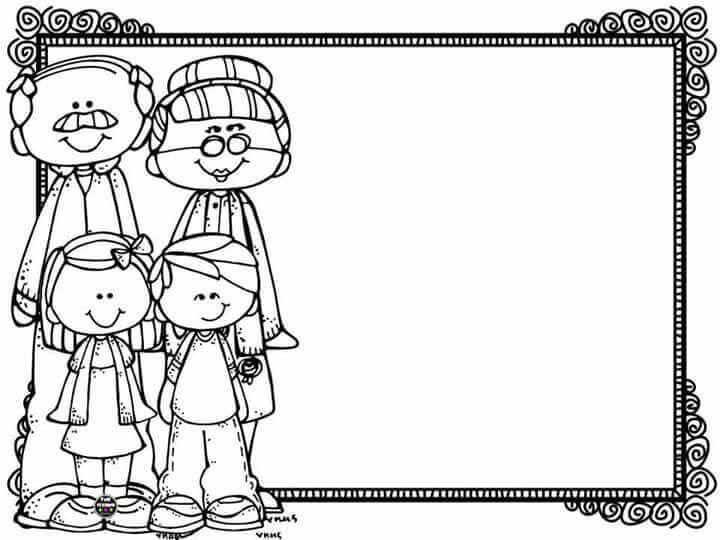 Marco Abuelos Nietos Dia Del Abuelo Abuelos Para Colorear Dibujo Abuela