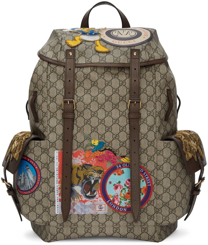 e07ee05554ff GUCCI Beige Gg Supreme Donald Duck Backpack.  gucci  bags  leather  lining   canvas  backpacks
