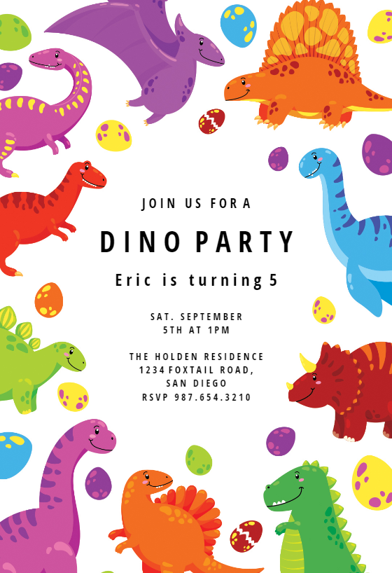 Colorful Dinos Birthday Invitation Template Free Greetings Island Dino Birthday Invitations Dinosaur Birthday Party Invitations Dinosaur Birthday Invitations