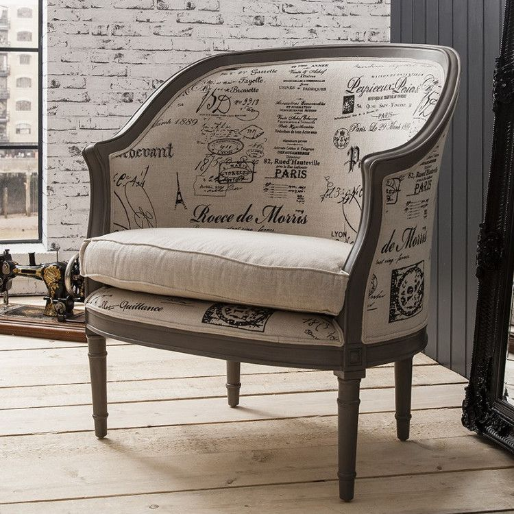 French Styled Maison Tub Chair Print Fabric
