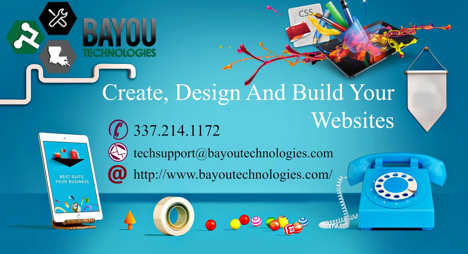 Bayou Technologies offers high quality responsive mobile friendly website design.We create business websites that work for you.Our websites are Eye-Catching, Professional, and Cost-Effective. Call today: 337.214.1172