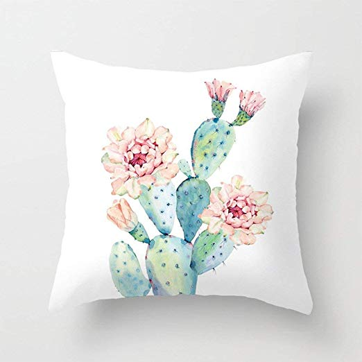 Amazon Com Aremazing Cactus Pillow Covers Super Soft Summer Green Succulent Plant Prickly Pear Flower Cactus Throw Pillows Throw Pillows Natural Throw Pillows