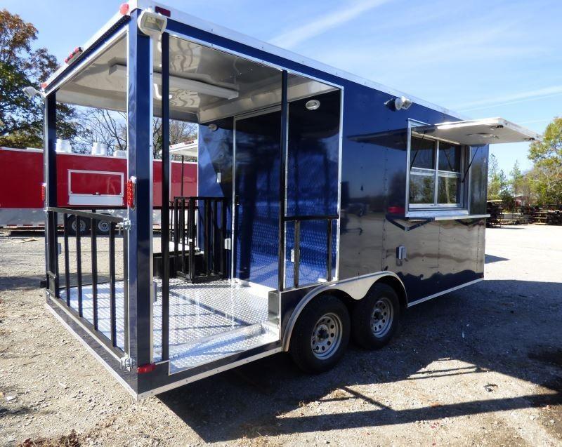 Concession trailer indigo blue 85 x 17 bbq smoker event