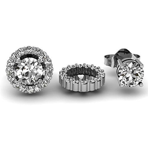 14k Round Diamond Removable Jackets for Stud Earrings 1//4 CT