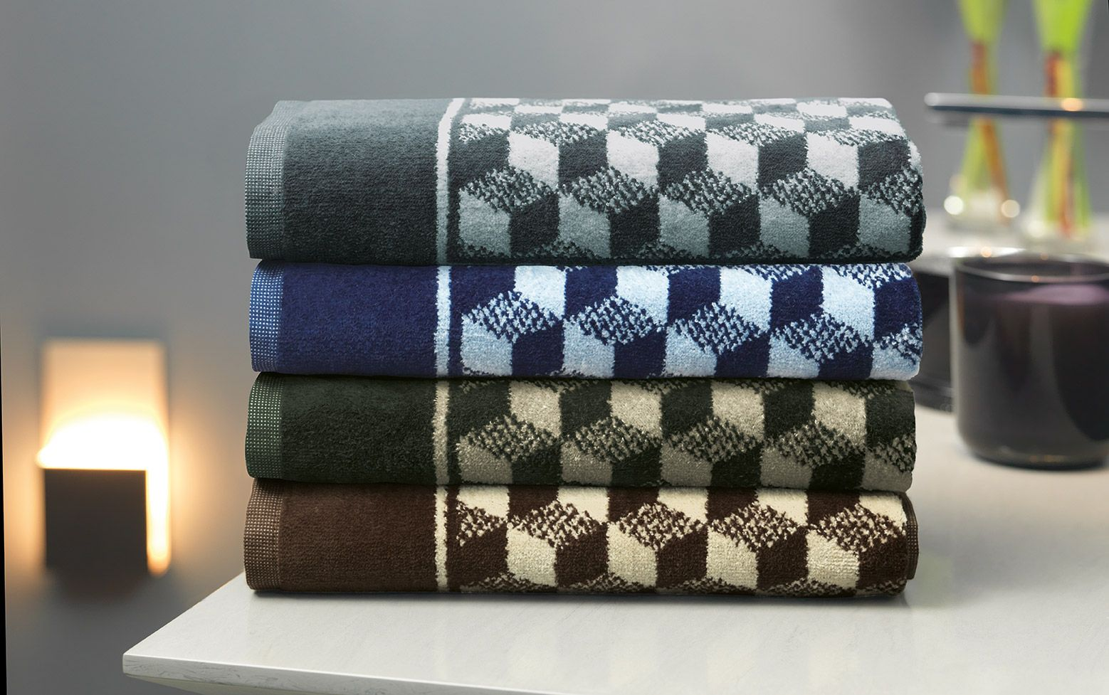 Piso 3D cinza, verde, azul  e marrom.