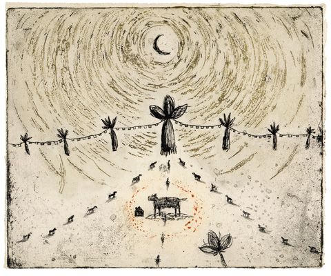 Kumi Obata, etching, Entrance to the night 200×250mm