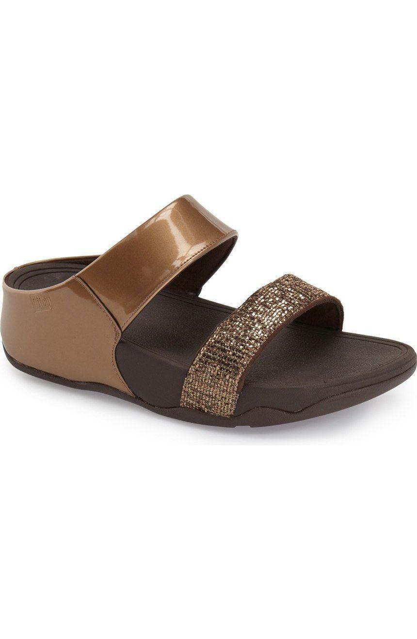 d919933d9116 Fitflop B24-012 Women S Bronze Lulu Superglitz Slide Sandals - With ...