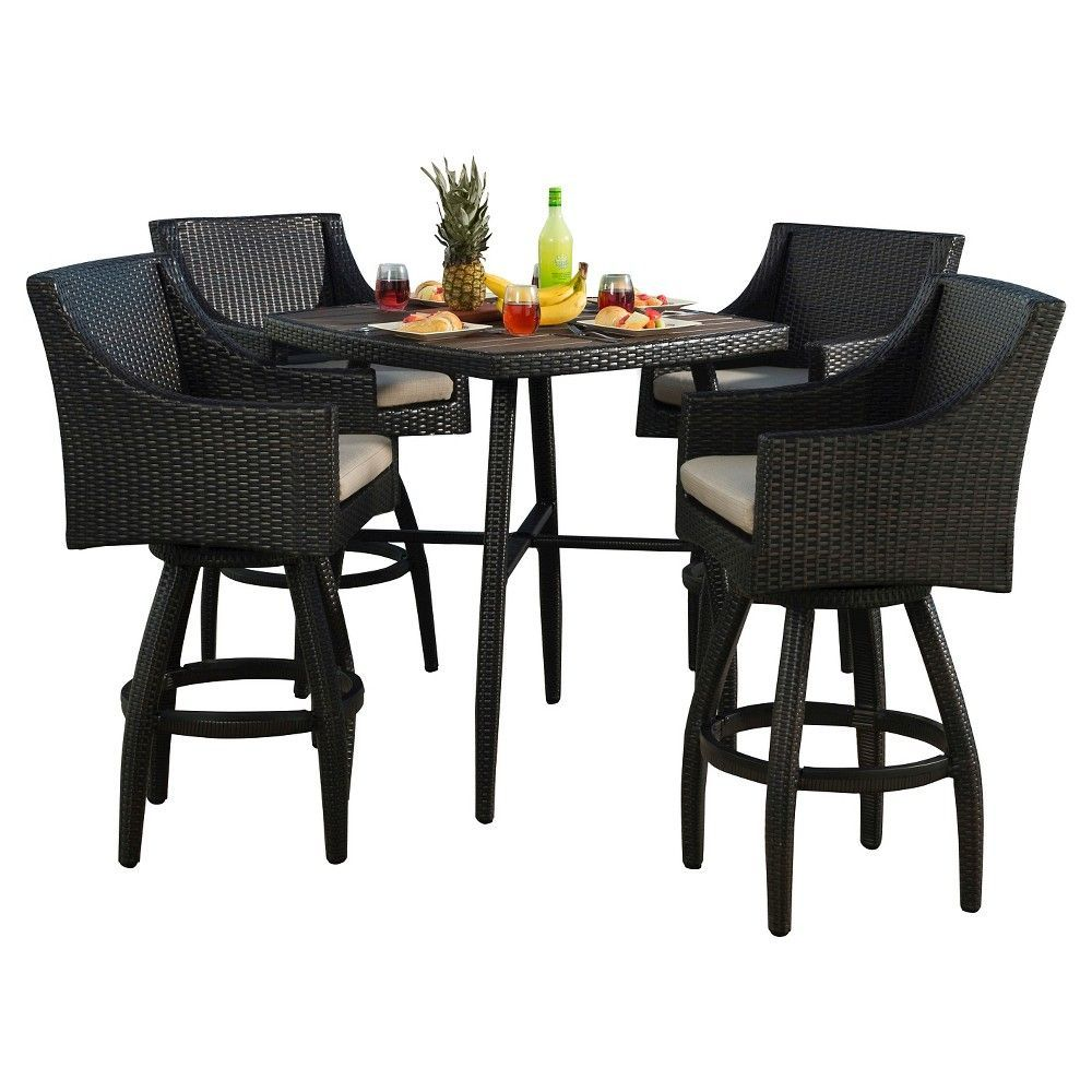 Rst Brands Deco 5 Piece Woven Barstool Set With Slate Gray Cushions Slate Grey Patio Furniture