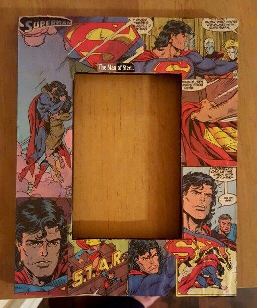 Original handcrafted wooden Superman Frame using original