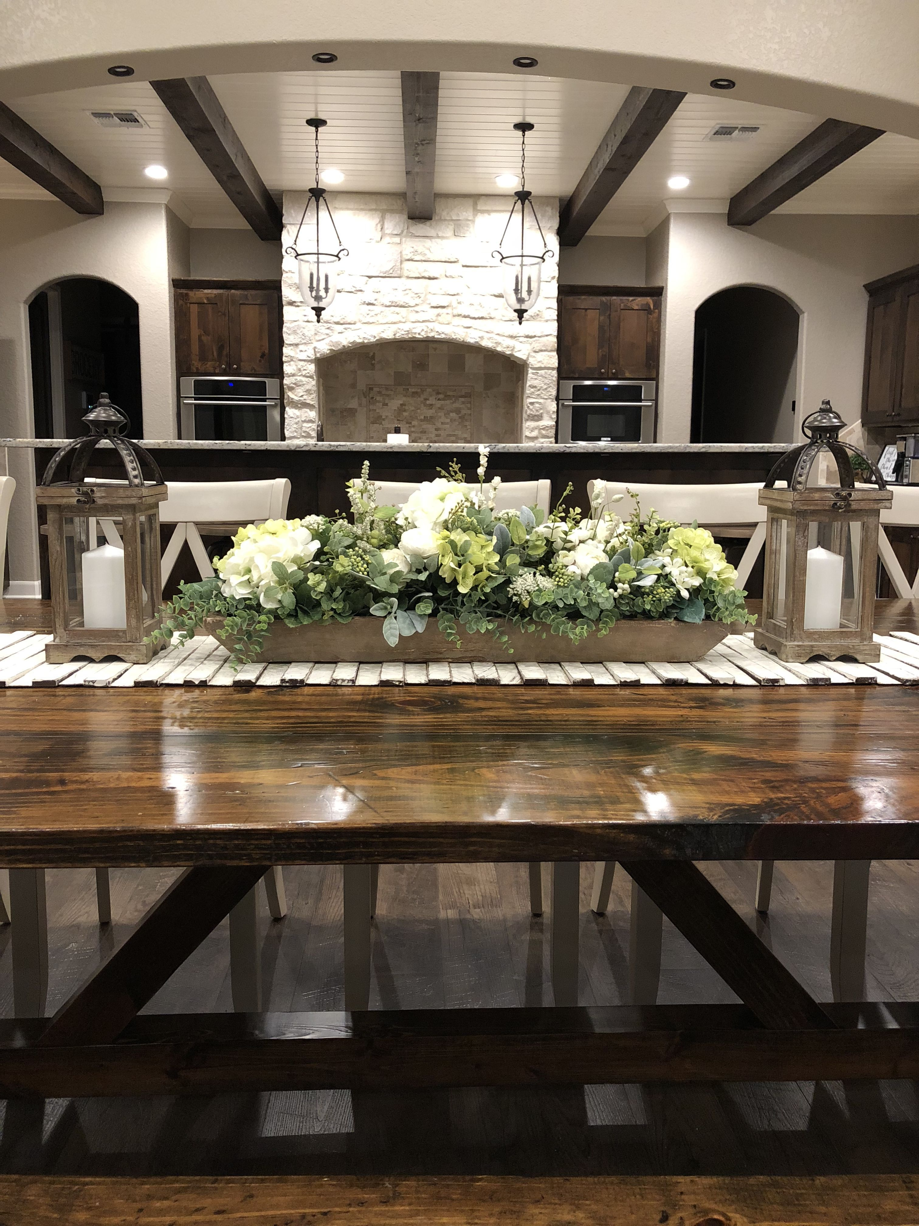 Dough Bowl Floral Lanterns Rustic Runner Dining Room Table