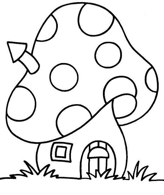 Casita Seta Dibujo Dibujo De Setas Libro De Colores Patrones De Apliques