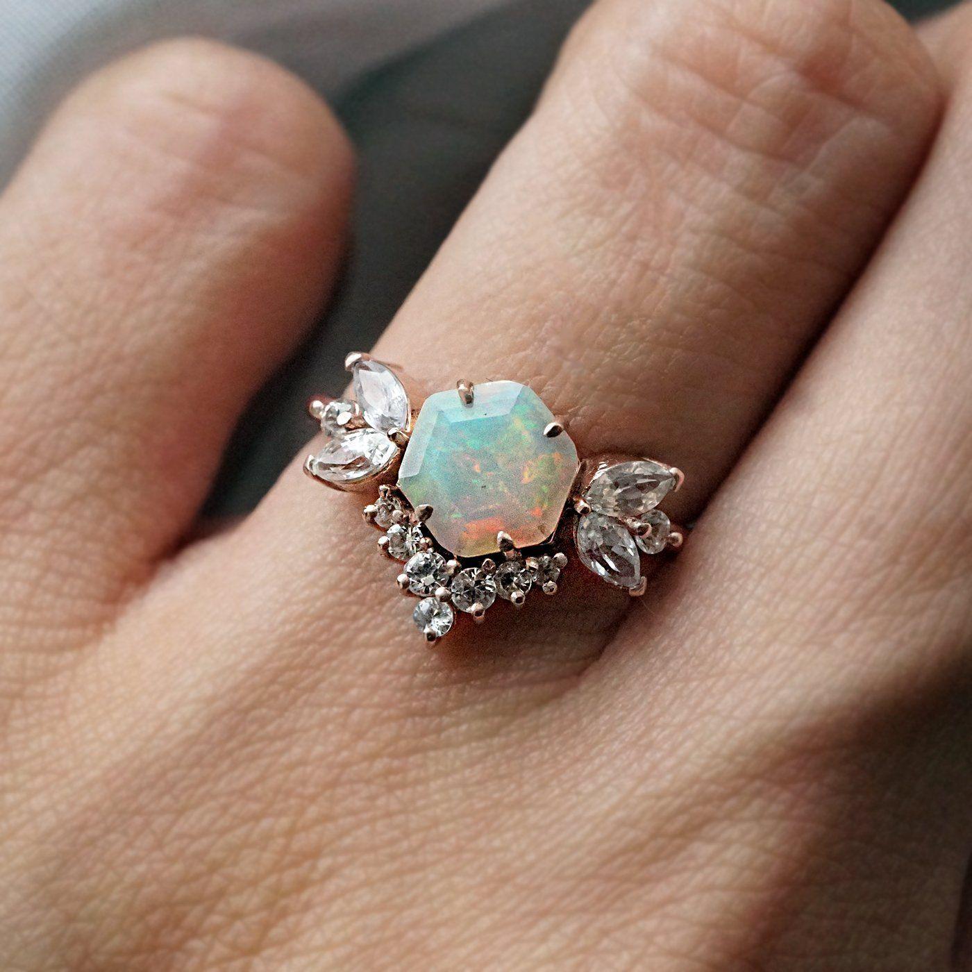 Hexagon Opal Butterfly Diamond Ring Black diamond