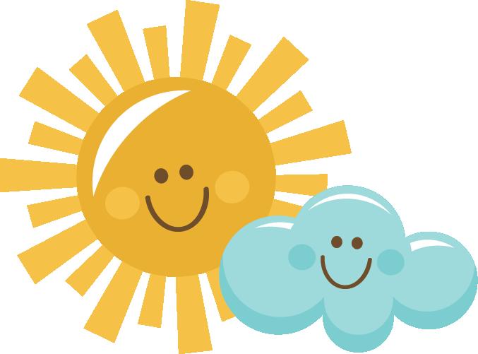 Happy Sun And Cloud Clip Art Clipart Fofo Chuva De Amor