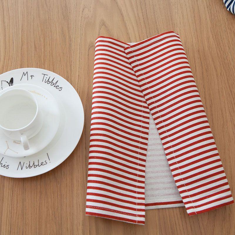 4pcs cotton linen pastoral cloth placemat table mat stripe plaid western mat pad placemat slip-resistant pad tea cloth free ship