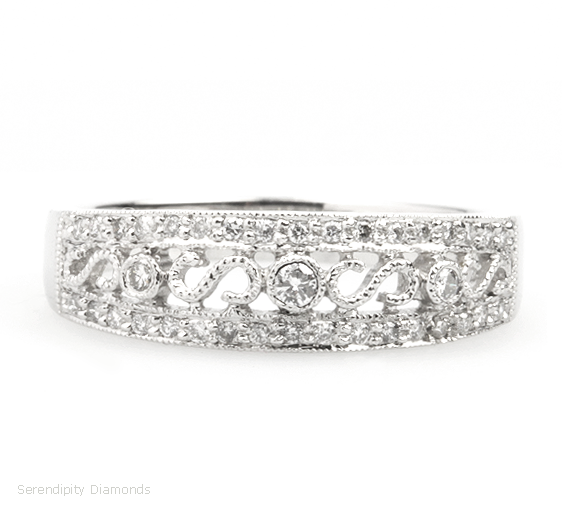 Elegant Diamond Set Vintage Styled Wedding Ring Incorporating Small Round Brilliant Cut Diamonds And