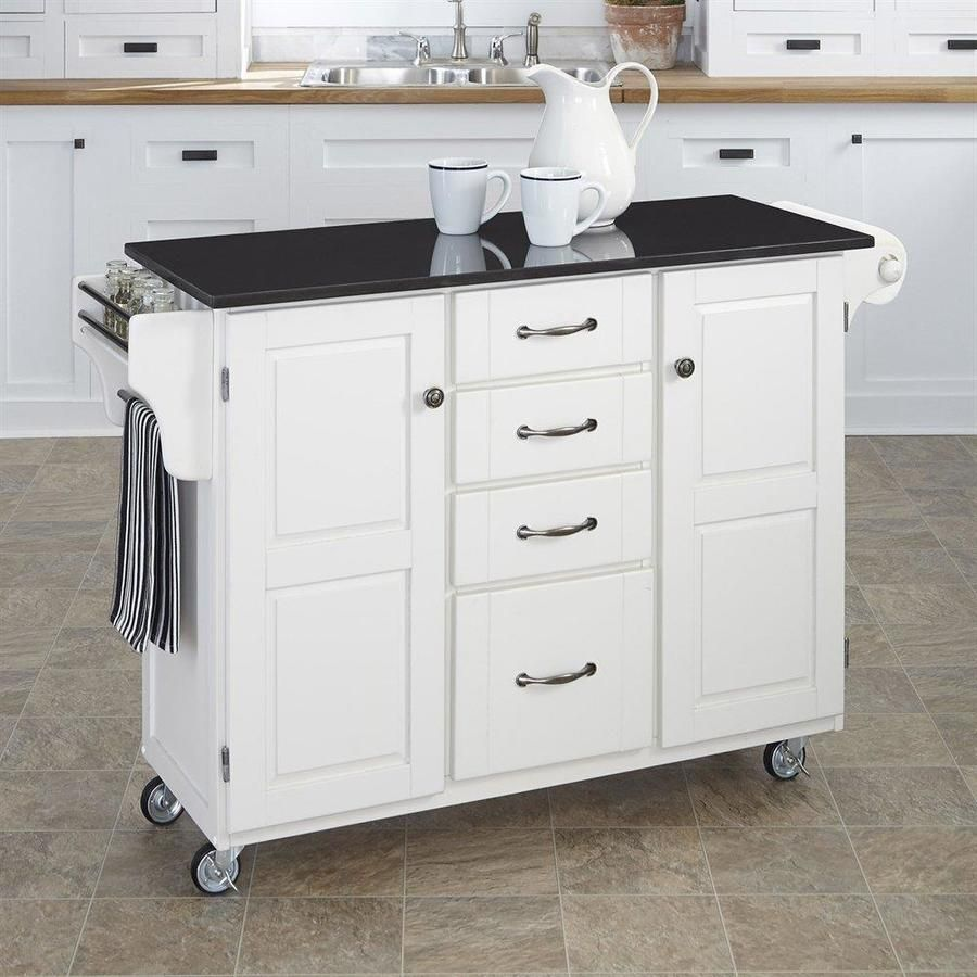 Home Styles White Scandinavian Kitchen Cart White Kitchen Cart