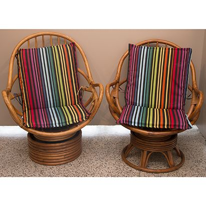 Vintage Indoor/outdoor Rattan Swivel Rocker Chairs In The Manner Of Paul  Frankl. Feature