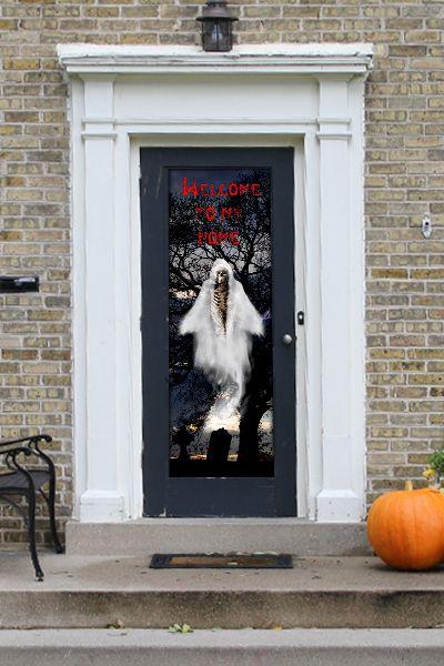 Halloween Door Decoration - Graveyard Ghost Skeleton static cling door vinyl in white black and & Halloween Door Decoration - Graveyard Ghost Skeleton static cling ...