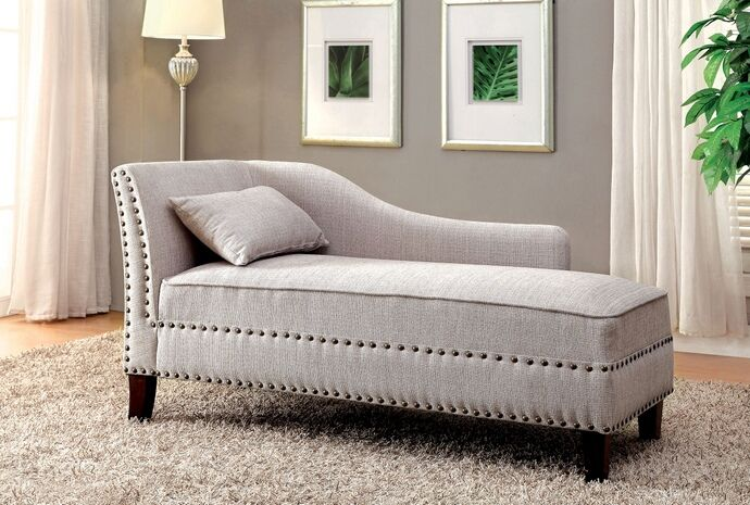 Cm Ce2185bg Still Water Beige Linen Like Fabric Chaise Lounge With