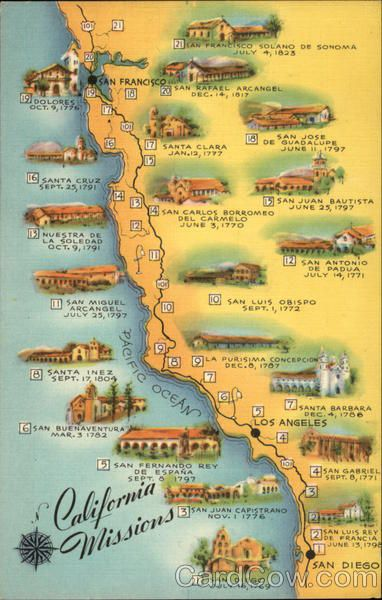 Missions In Southern California Map.Map Of California Missions Gaywood California Missions