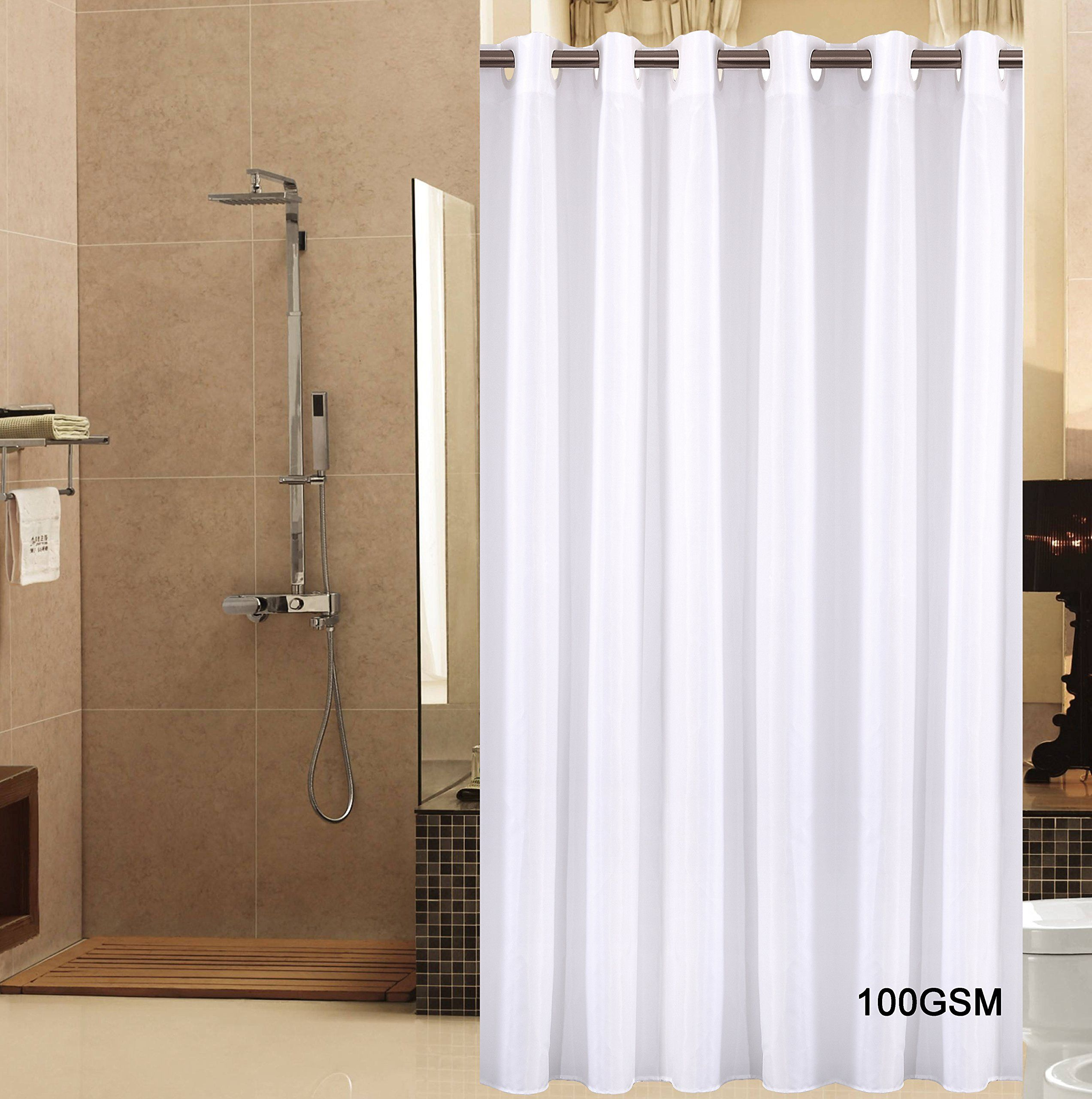 Sfoothome Small Polyester Shower Curtain Waterproof No More Mildews Bathroom Hookless CurtainsWhite