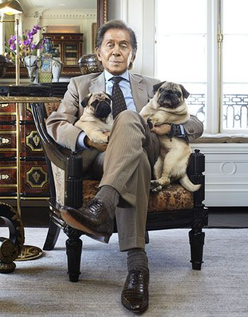 Valentino With His Beloved Pugs Dogs Pets Pugs Celebritydogs