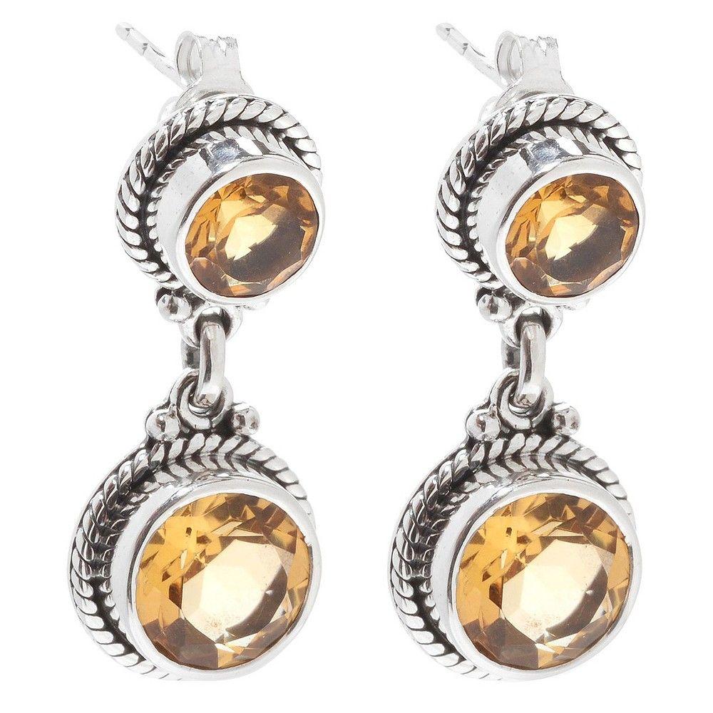 Fine Jewelry Orange Citrine Sterling Silver Drop Earrings NmNWAQT