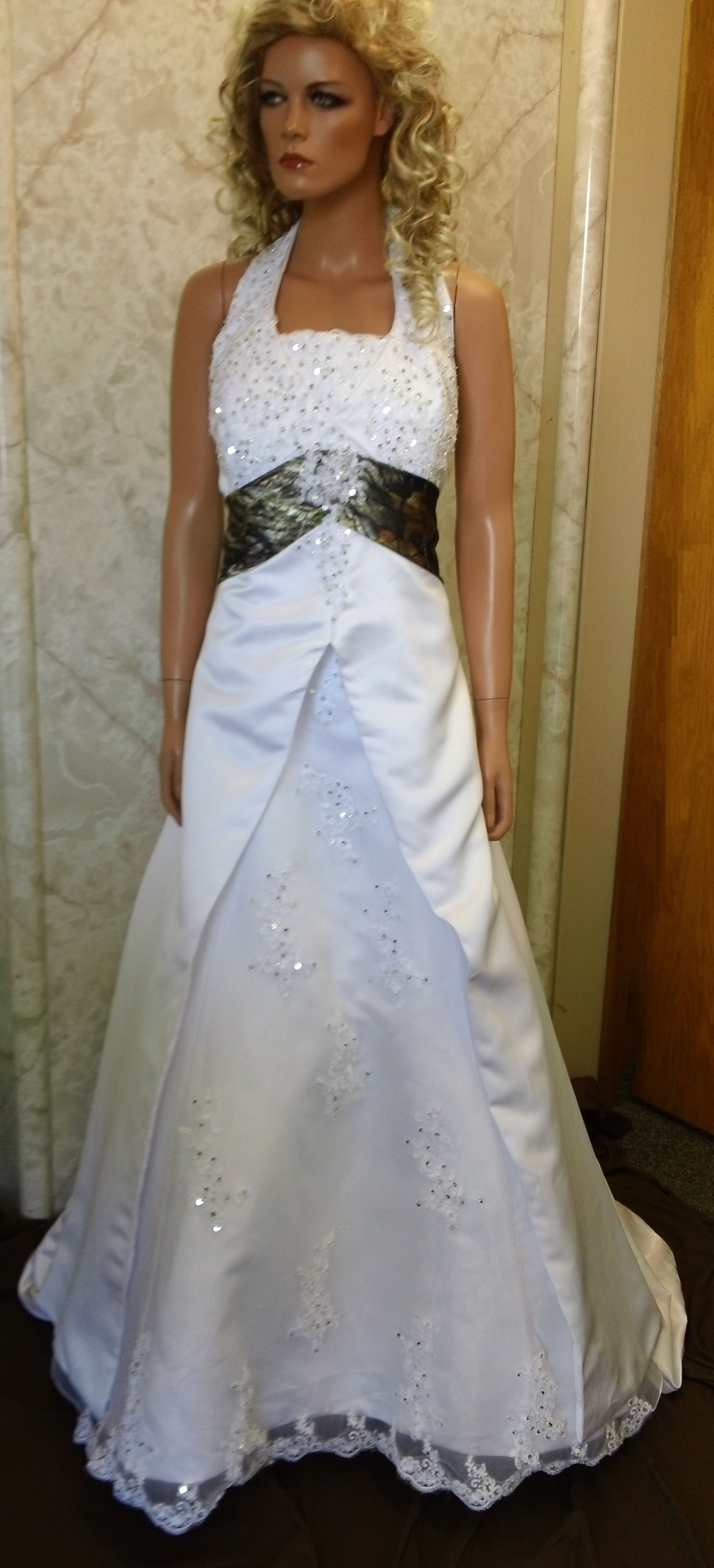 White camo wedding dress sash beautiful dresses pinterest satin wedding gown with sweetheart empire halter neckline wedding dresses with camouflage accents long camouflage sash ombrellifo Gallery