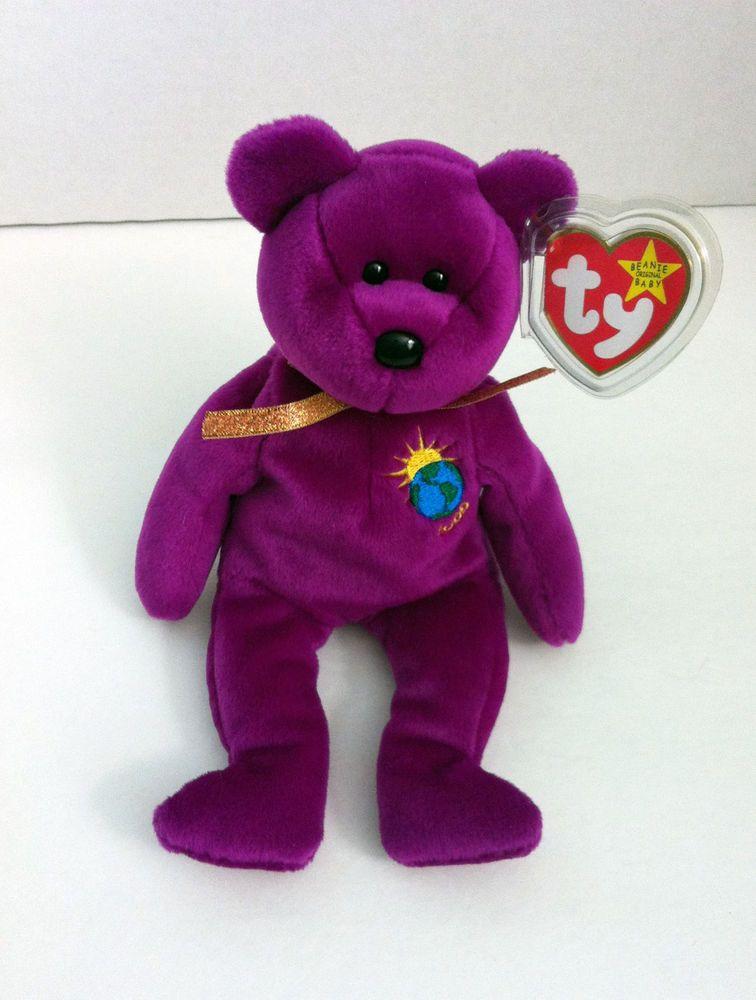 faa2fe350ed Millennium Bear Ty Beanie Baby Retired Purple Fuchsia January 1
